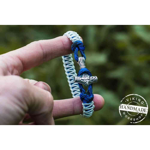Paracord Bracelet with Silver Plated Mjolnir (white+blue)